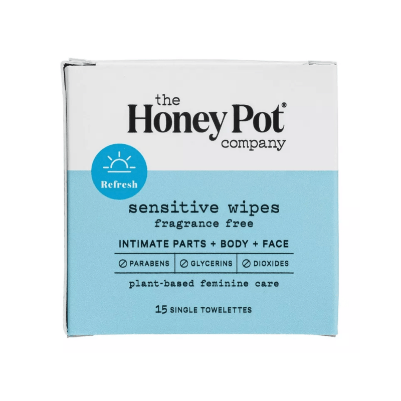 The Honey Pot Co. Feminine Wellness Travel 15 ct Travel Size Sensitive Wipes