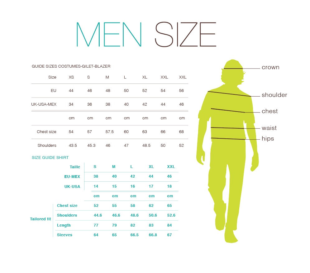 Mayasi Men sizing chart
