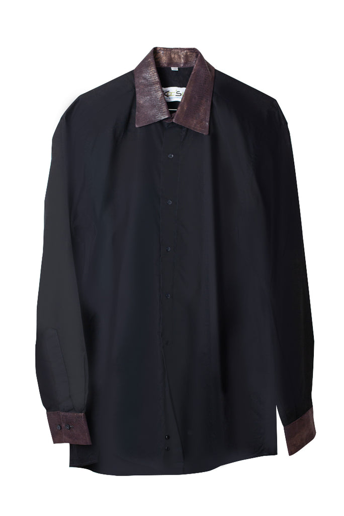 Black Long Sleeve African Print Shirt - Leather Collar