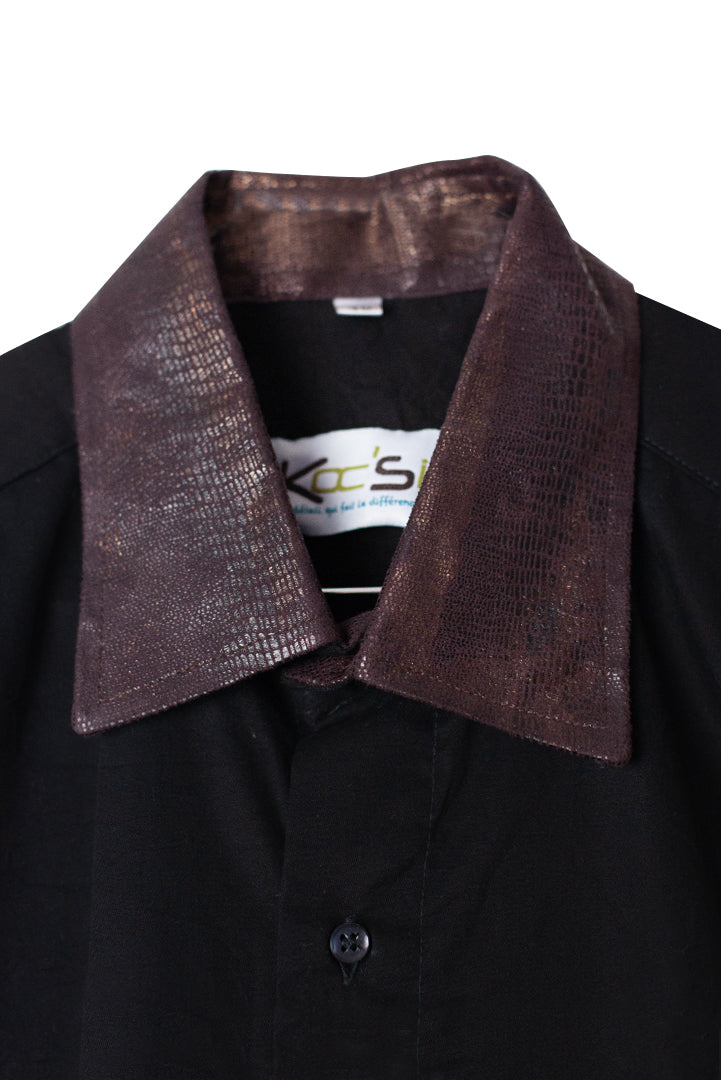 African Print Shirt - Leather Collar
