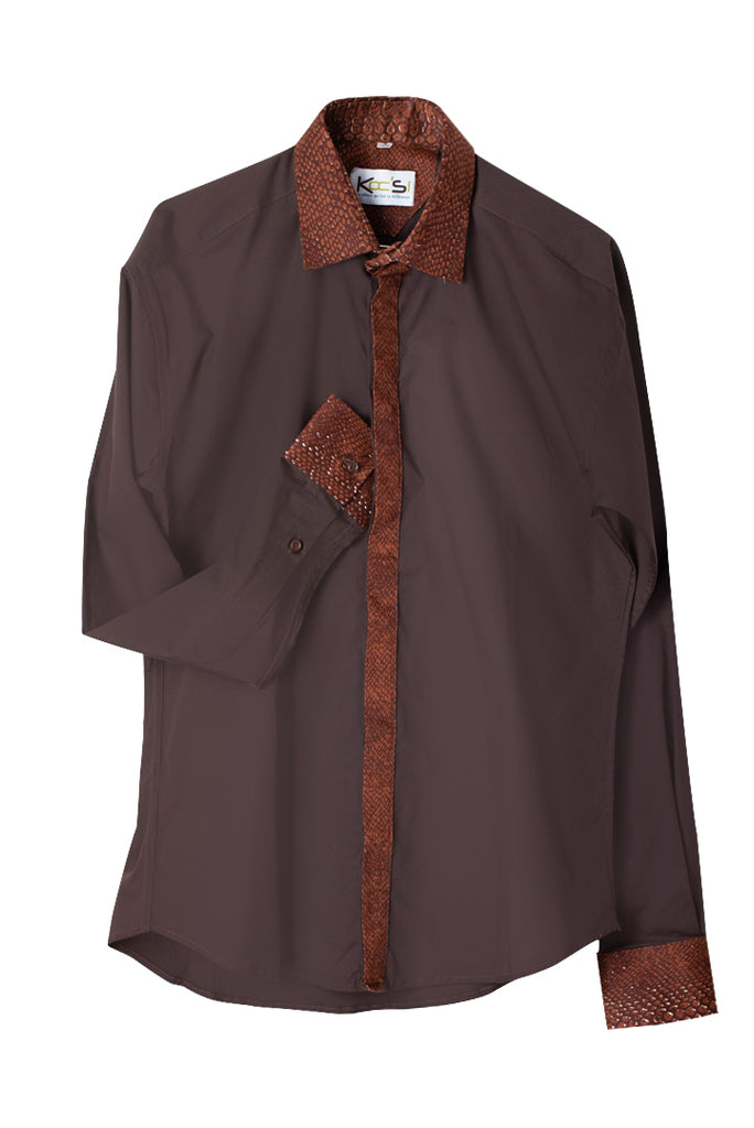 Brown Long Sleeve African Print Shirt