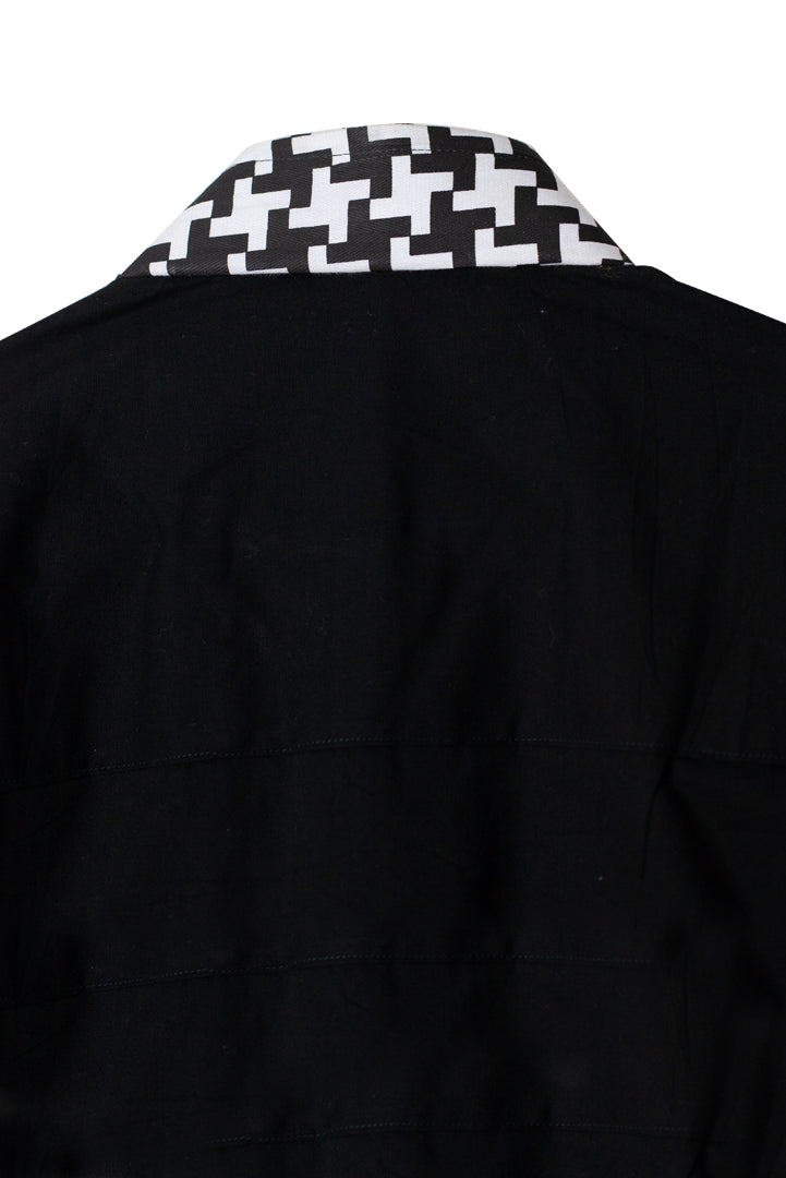 Black and White Long Sleeve African Shirt