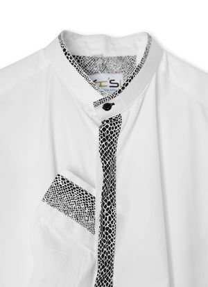 Black and White Granddad Collar African Shirt