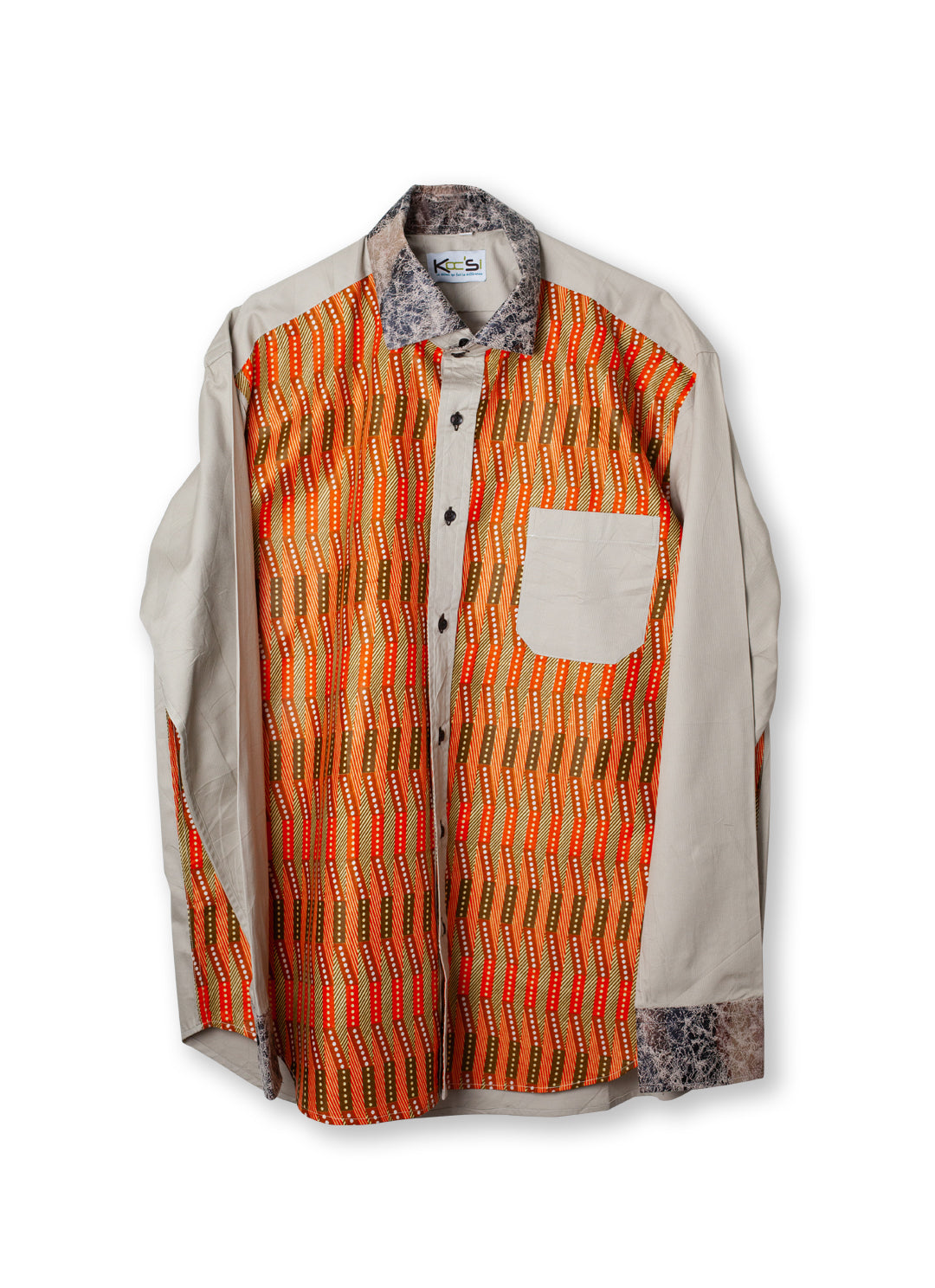 Orange Long Sleeve African Shirt
