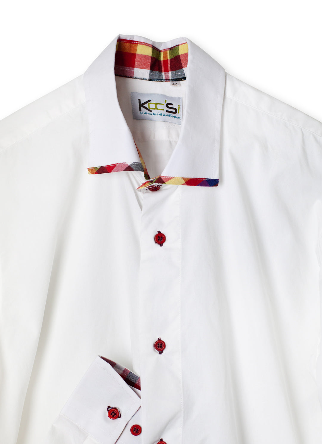 White and Red Long Sleeve African Shirt