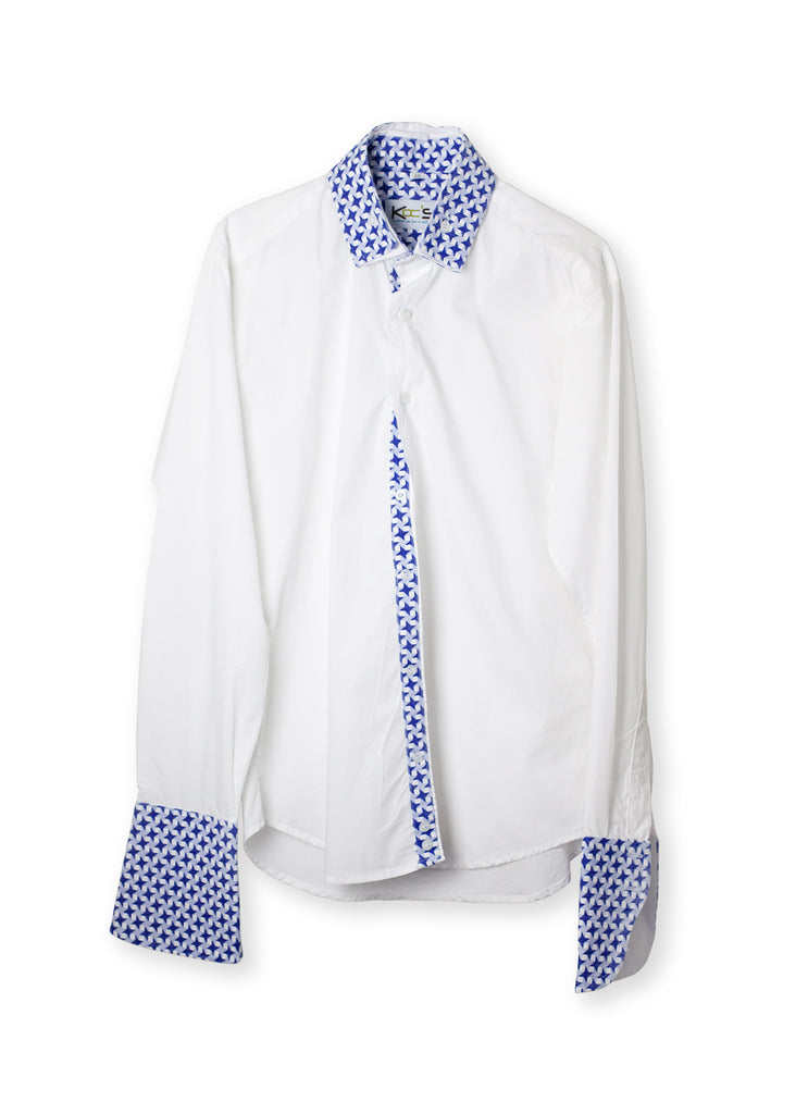 White and Blue Classic Collar African Shirt