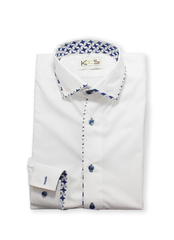 White and Blue Inverted Collar African Shirt