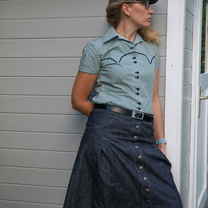 PAPERCUT | 50s's Jeansrock | REBEL HEART - Schwalbenliebe Vintage Clothing & Rock'N'Roll