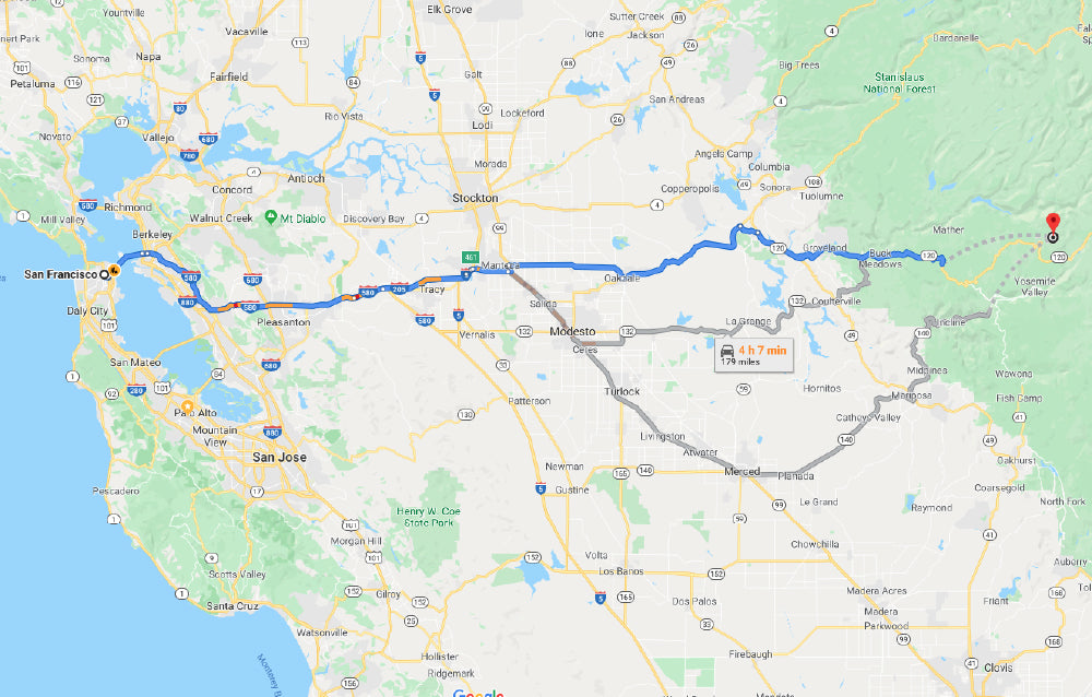 how to get from san francisco to yosemite national park