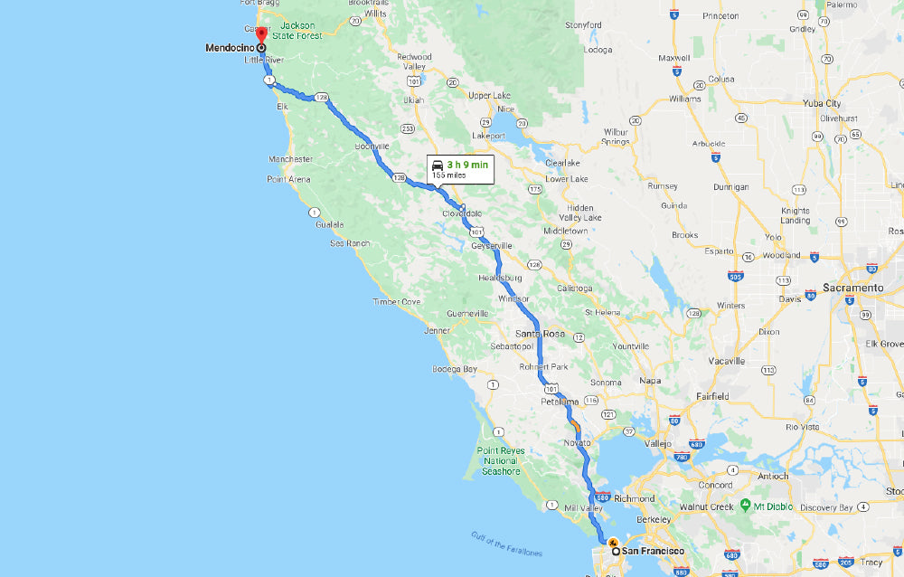directions from san francisco to mendocino