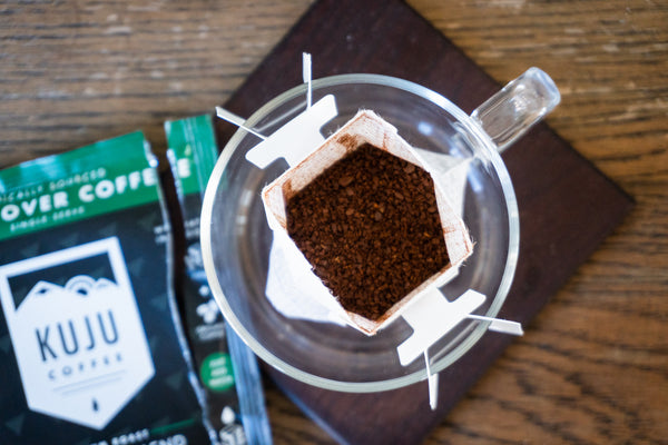 kuju coffee specialty-grade coffee grounds in single serve pour over filter