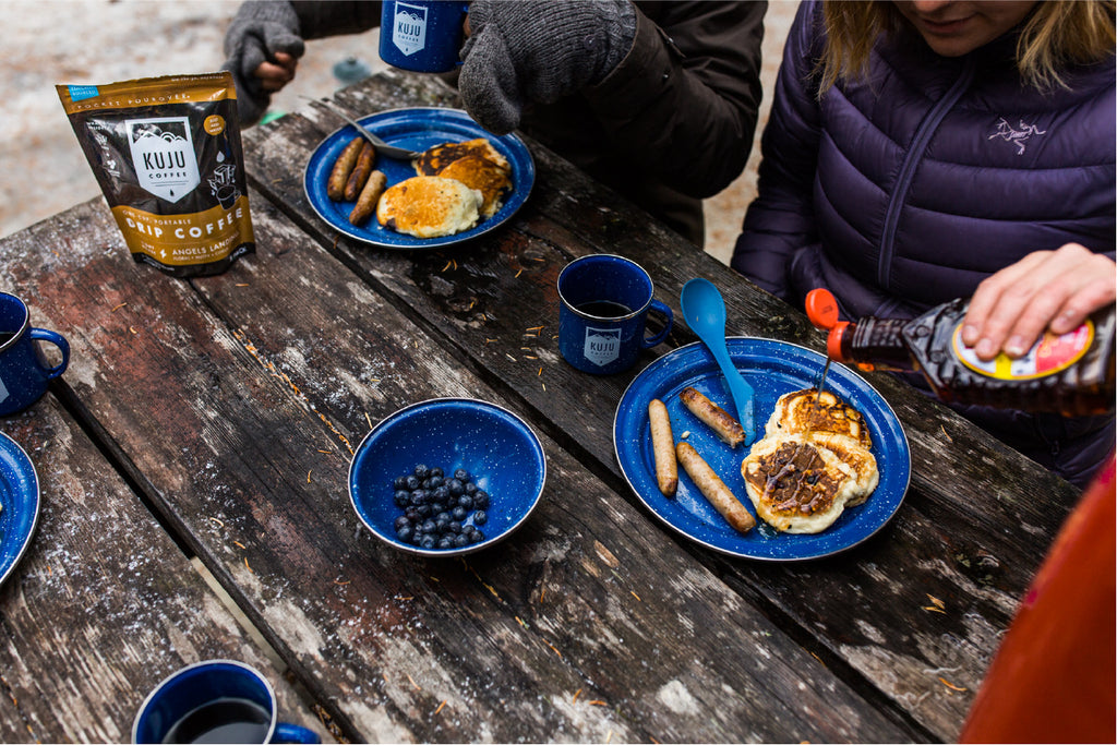 camping breakfast with coffee