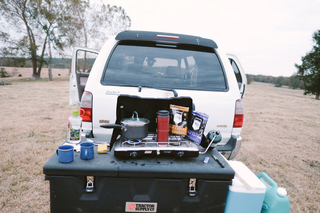 Portable pourover coffee with truck