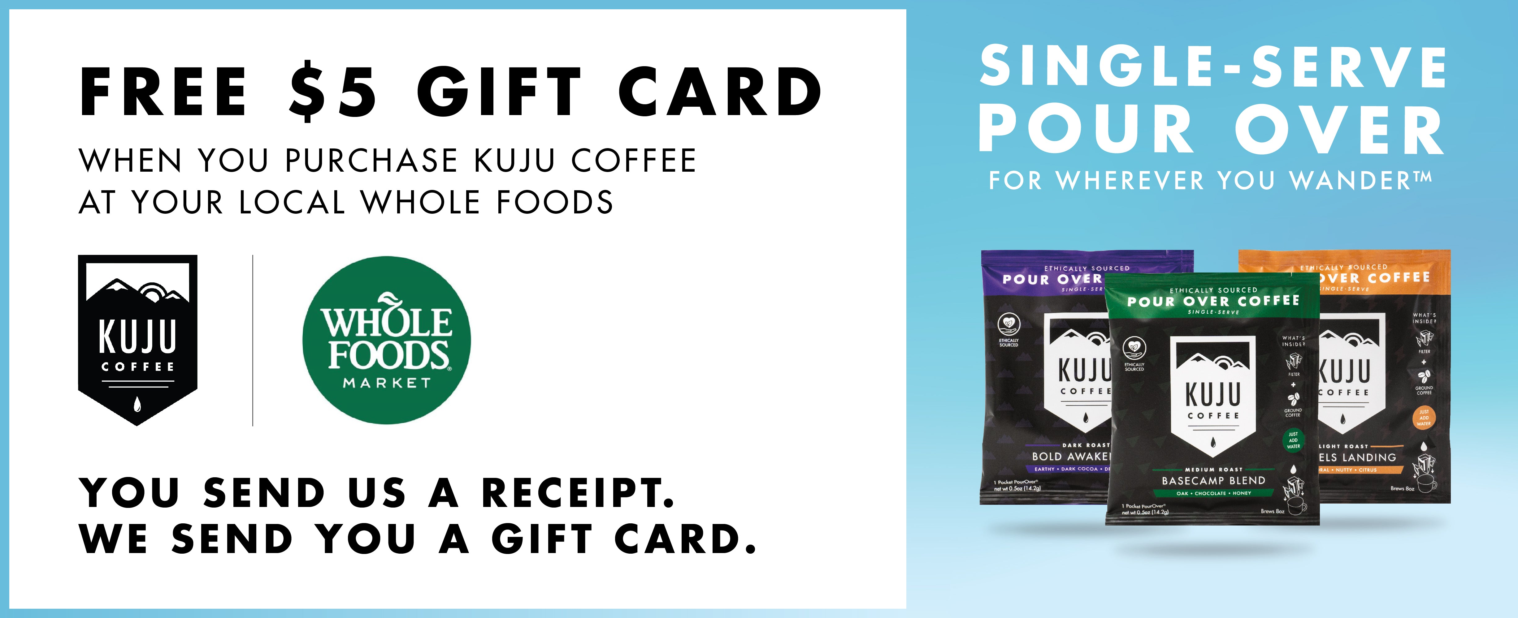 free gift card with kuju coffee purchase at whole foods