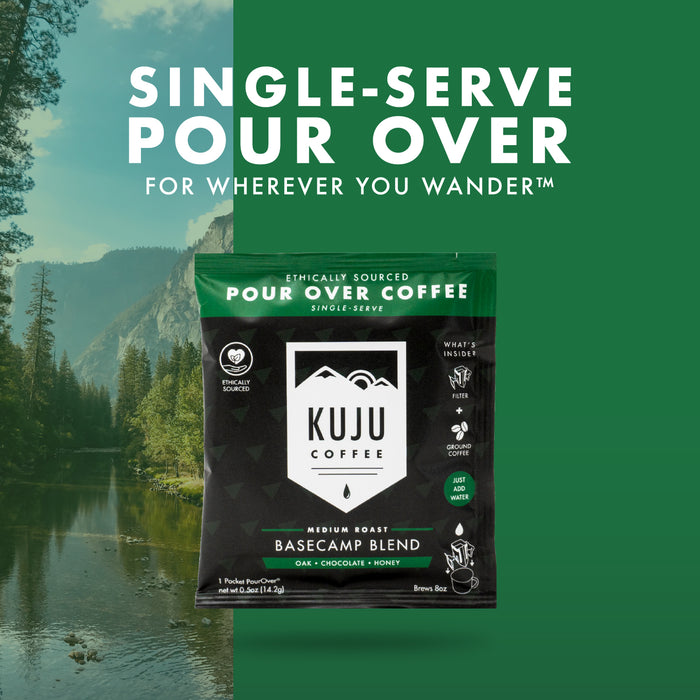 Single-Serve Pour Over Coffee | Basecamp Blend, Medium Roast - Kuju Coffee