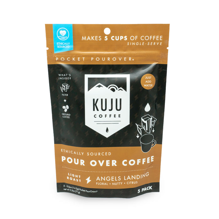 kuju coffee travel 5 pack single serve pour over angels landing light roast
