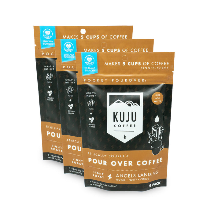 kuju coffee travel 5 pack single serve pour over angels landing light roast case of 3