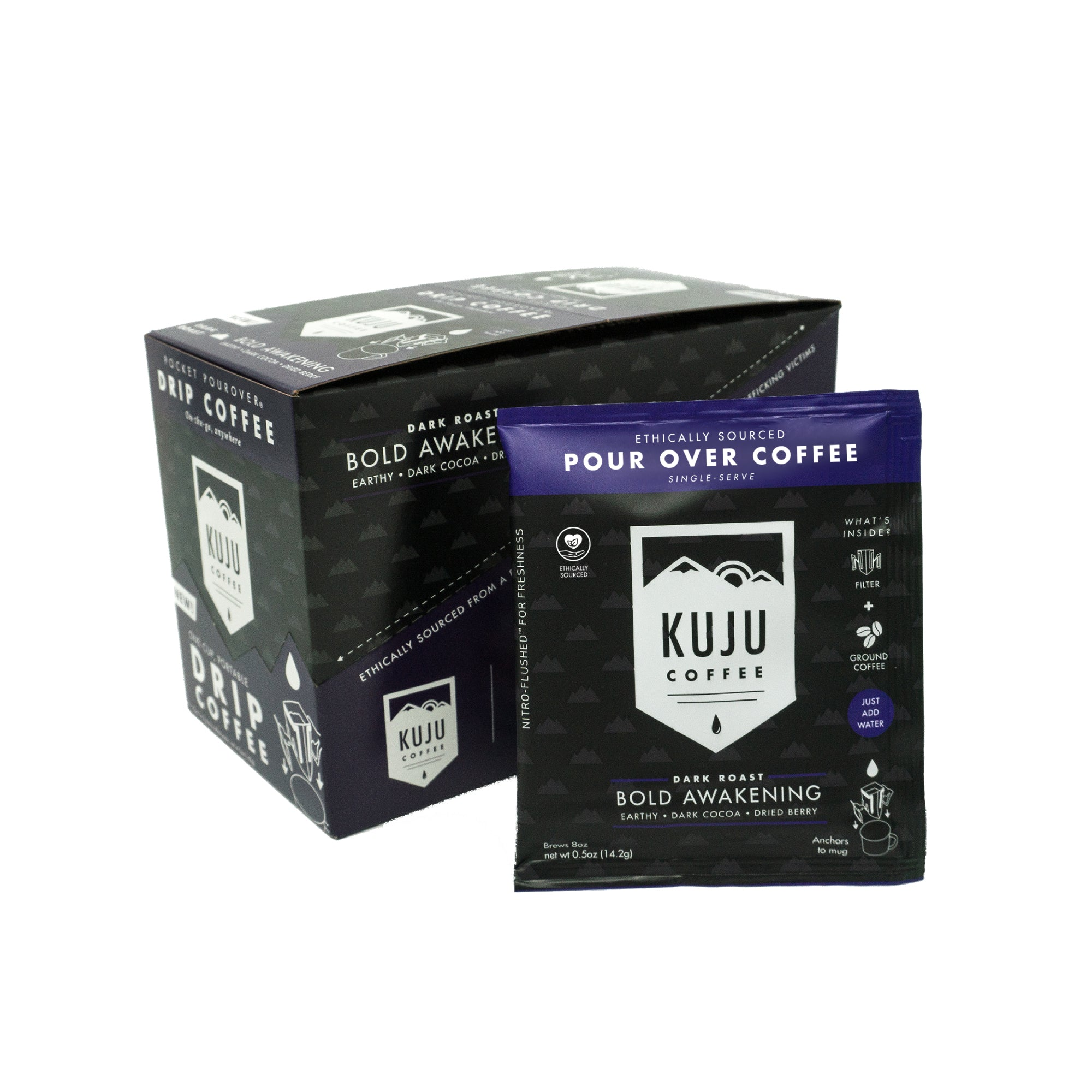 kuju coffee single serve portable disposable use pour over coffee bold awakening dark roast