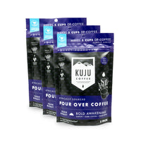 kuju coffee travel 5 pack single serve pour over bold awakening dark roast case of 3