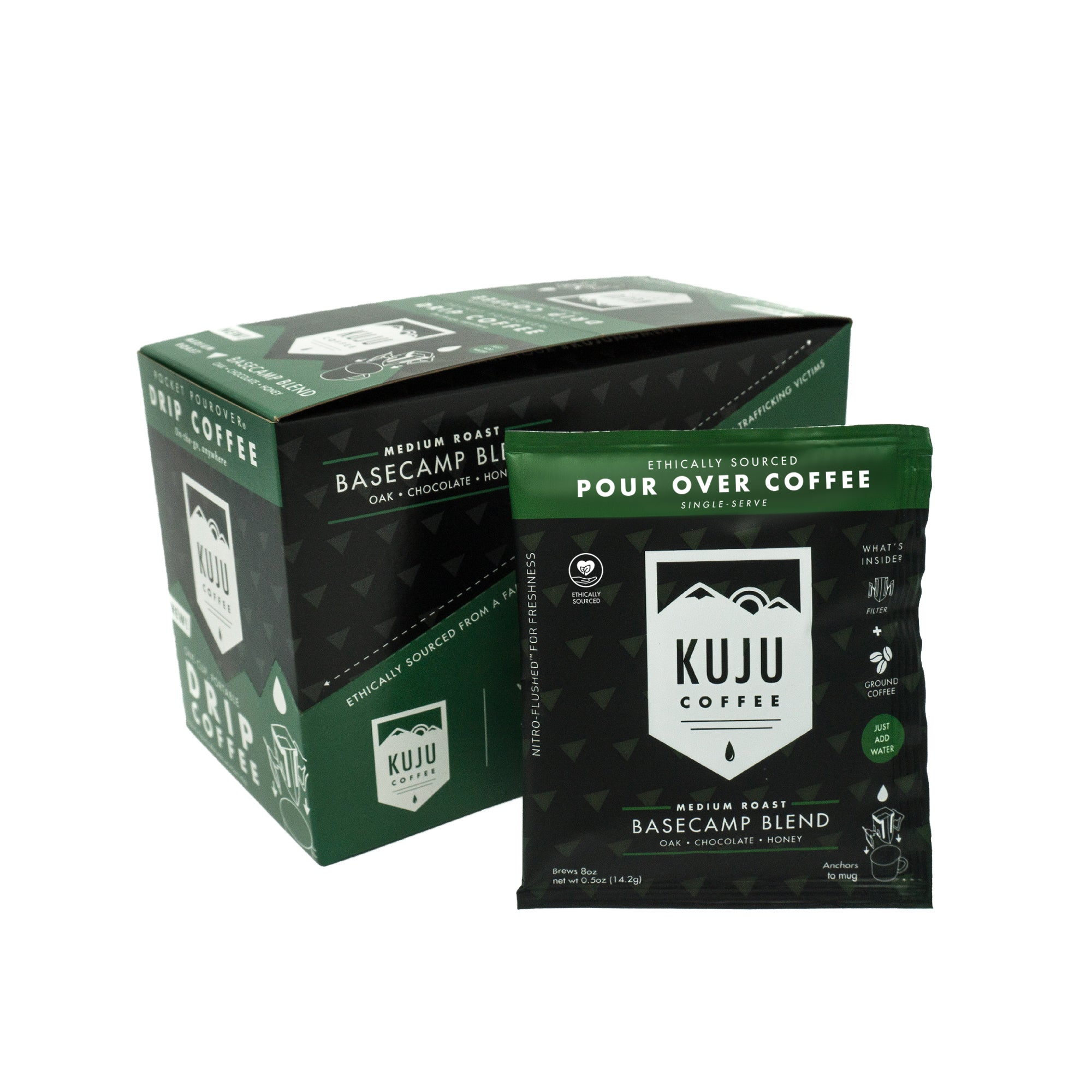 kuju coffee single serve portable disposable use pour over coffee basecamp blend medium roast