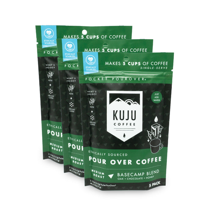 kuju coffee travel 5 pack single serve pour over basecamp blend medium roast case of 3