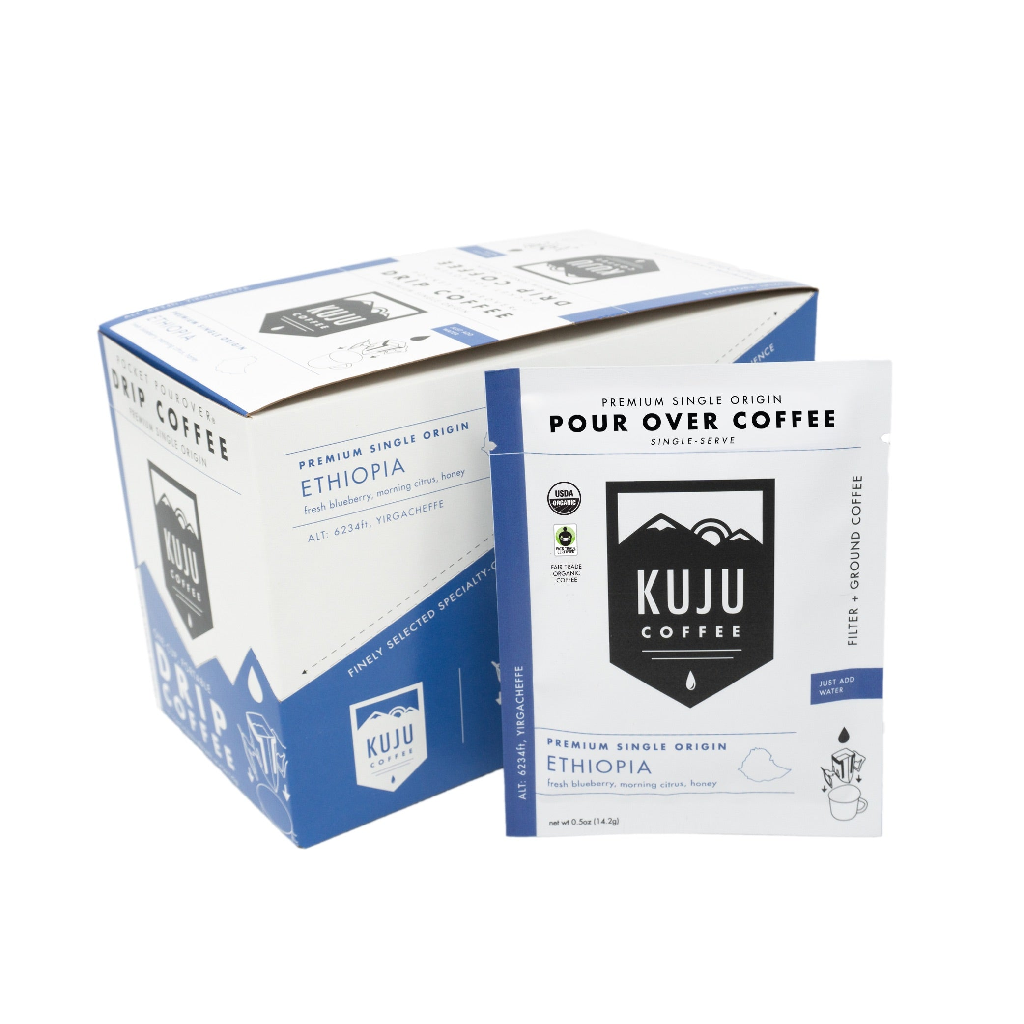 kuju coffee single serve portable disposable use pour over coffee ethiopia