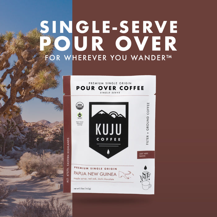 Single-Serve Pour Over Coffee | Fair Trade, Organic - Papua New Guinea, Eastern Highlands - Kuju Coffee
