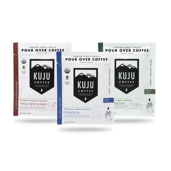 kuju coffee single serve portable disposable use pour over coffee single origin fair trade organic