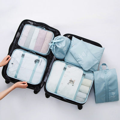 POLYESTER VENTILATED TRAVEL ORGANIZER TIDY BAGS WATERPROOF (7PCS/SET)