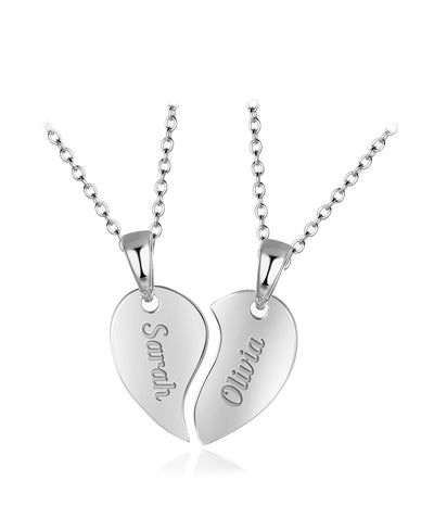 "Personalized Name Heart Two Halves Custom Gift for Women's Necklace Friends Name Necklace Sterling Silver White Gold Plated 17-19"" Adjustable"