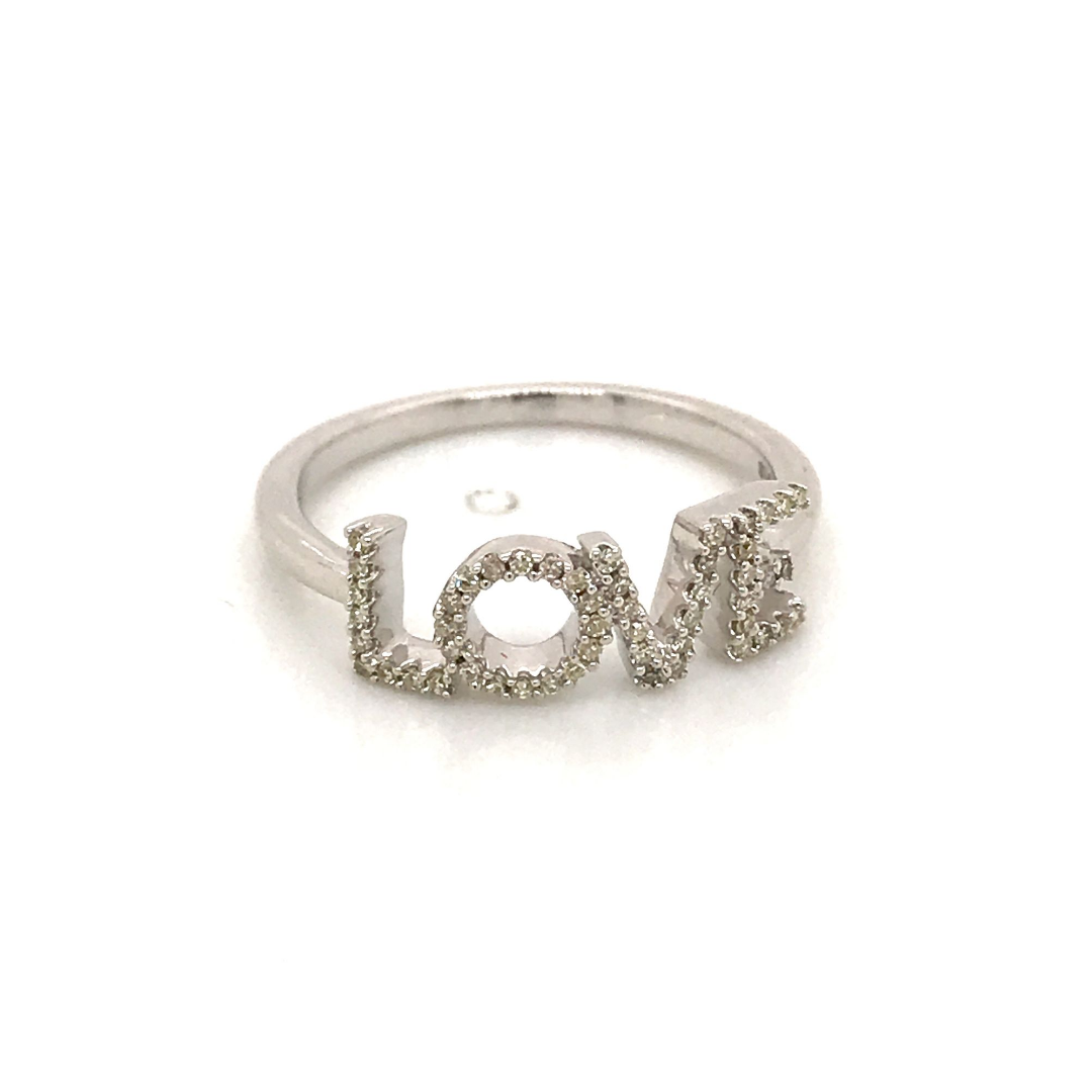 925 Sterling Silver 'Love' Ring with White Diamonds