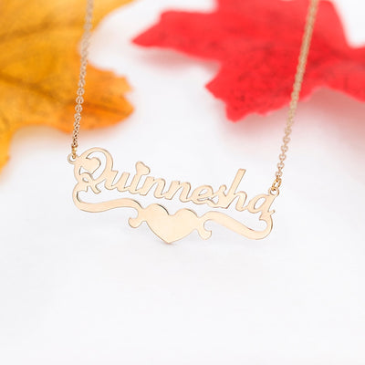 Mylo Designs Personalized Nameplate Heart Necklace Multiple Lengths Plated Stainless Steel