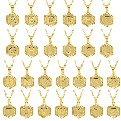 Mylo Designs A-Z  Necklace Gold Plated Initial Pendant Stainless Steel Necklaces 17""