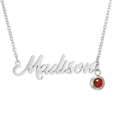 "Mylo Designs Personalized Crystal Birthstone Name Necklace Yellow Gold, White Gold, Rose Gold  17""+2"