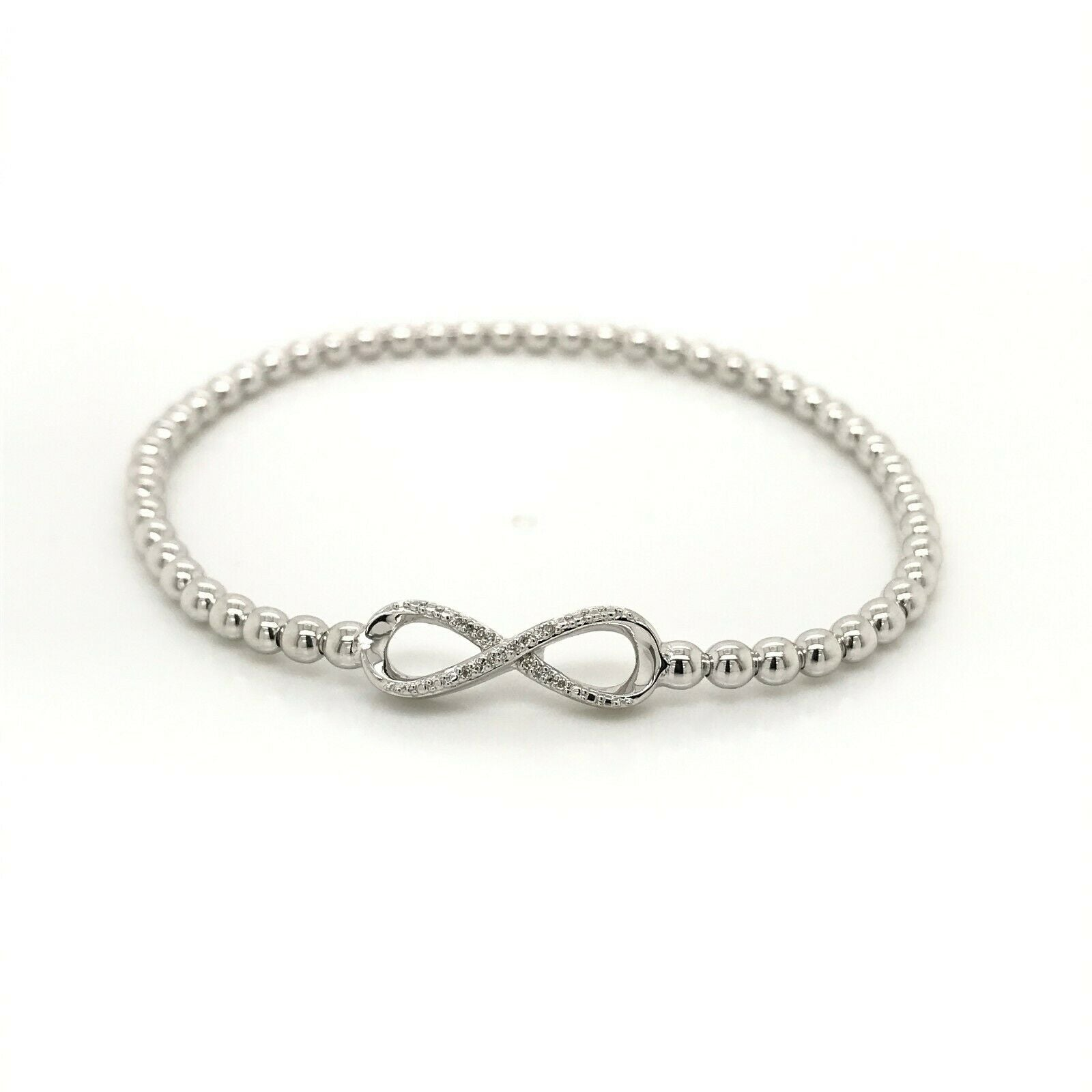 Sterling Silver Diamond Stretch Bead Bracelet 'Infinity' Style