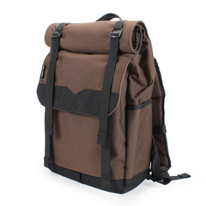 Brown Handmade Roll Top Backpack 21L