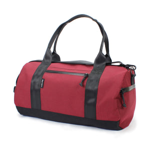 Burgundy Barrel Duffel Side Zipper Pocket 24 L