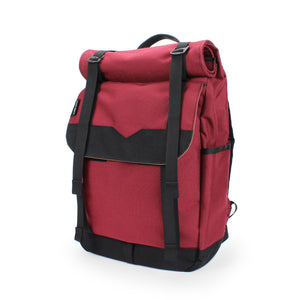 Burgundy Roll Top Backpack Side Pocket