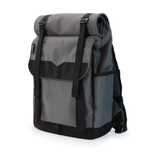 Grey Roll Top Backpack Side Pocket 21L