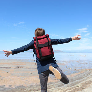 Burgundy Roll Top Backpack Great Salt Lake