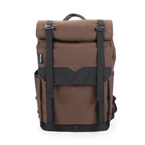 Brown Roll Top Backpack Front View and Straps
