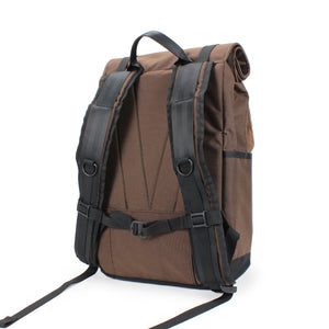 Brown Roll Top Backpack Back Padding, Shoulder Straps
