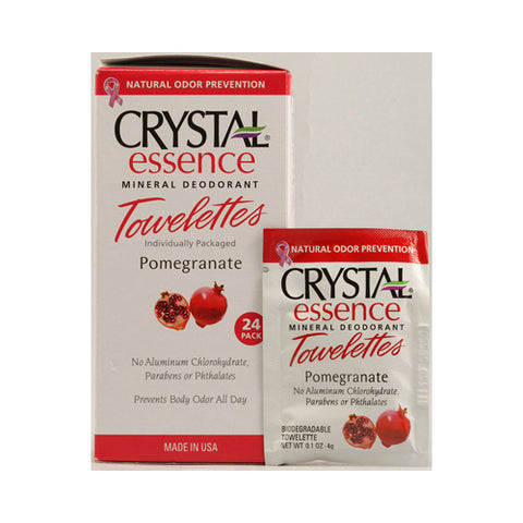 Crystal Essence Mineral Deodorant Towelettes Pomegranate (1x24 Towelettes)