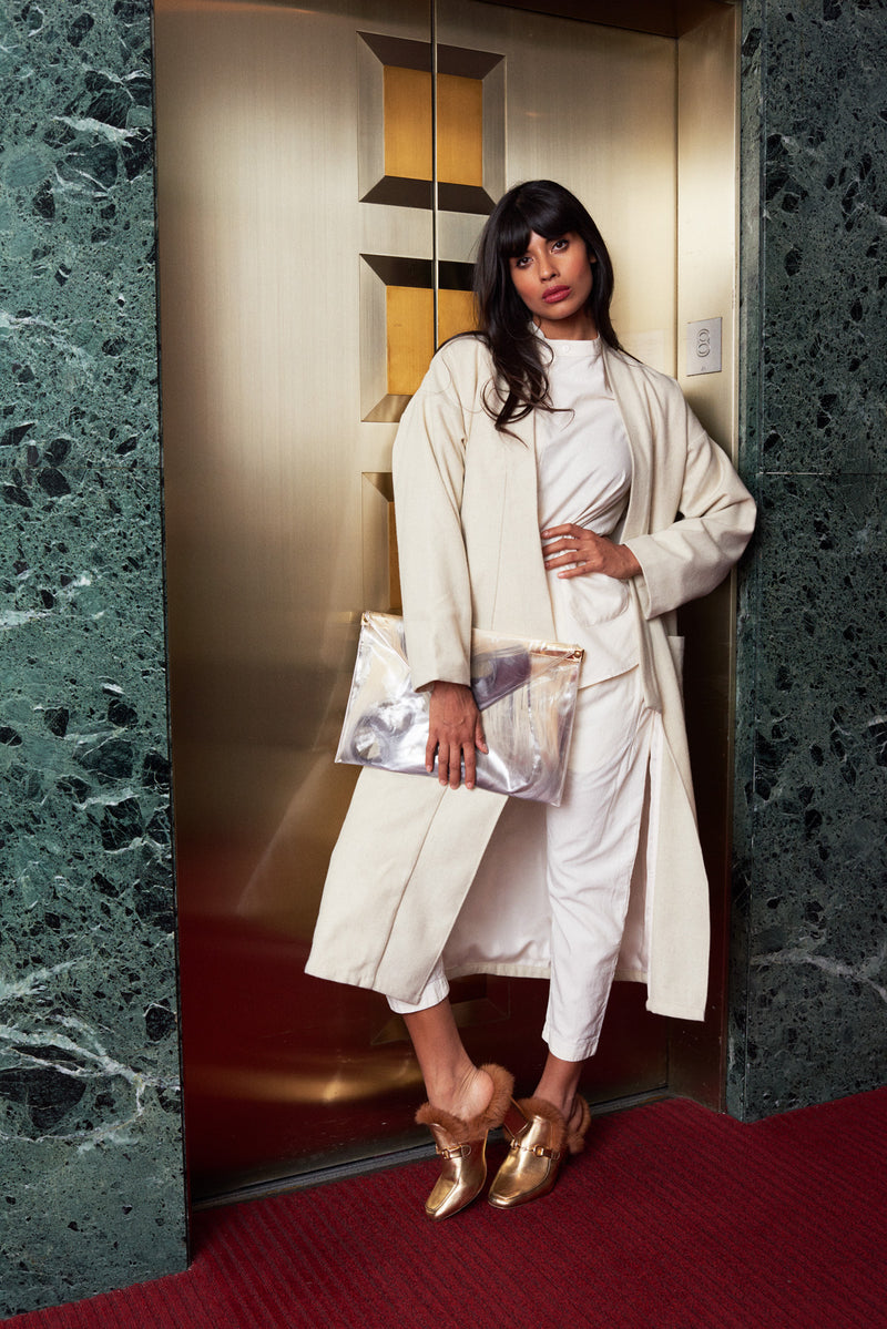 Jameela Jamil wears the SEEKER Hemp Kimono
