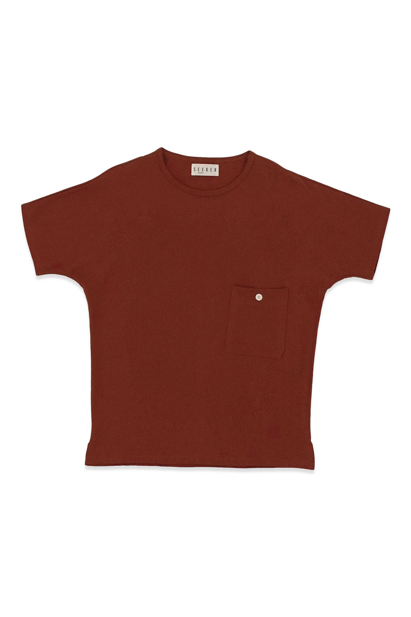 Pocket Dolman Tee in Rust