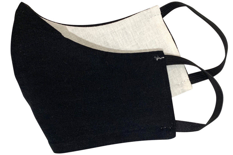 seeker hemp face mask reversible black folded