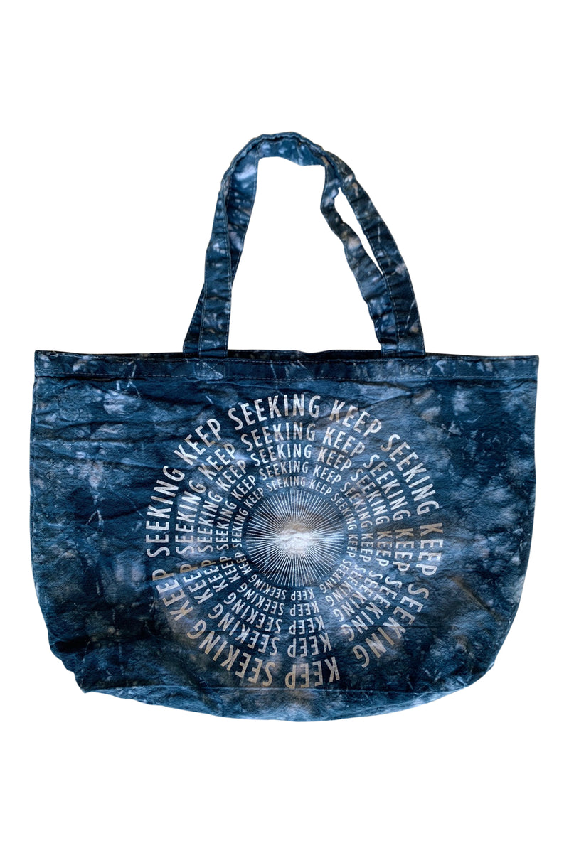 KEEP SEEKING TOTE BAG- INDIGO TIE DYE