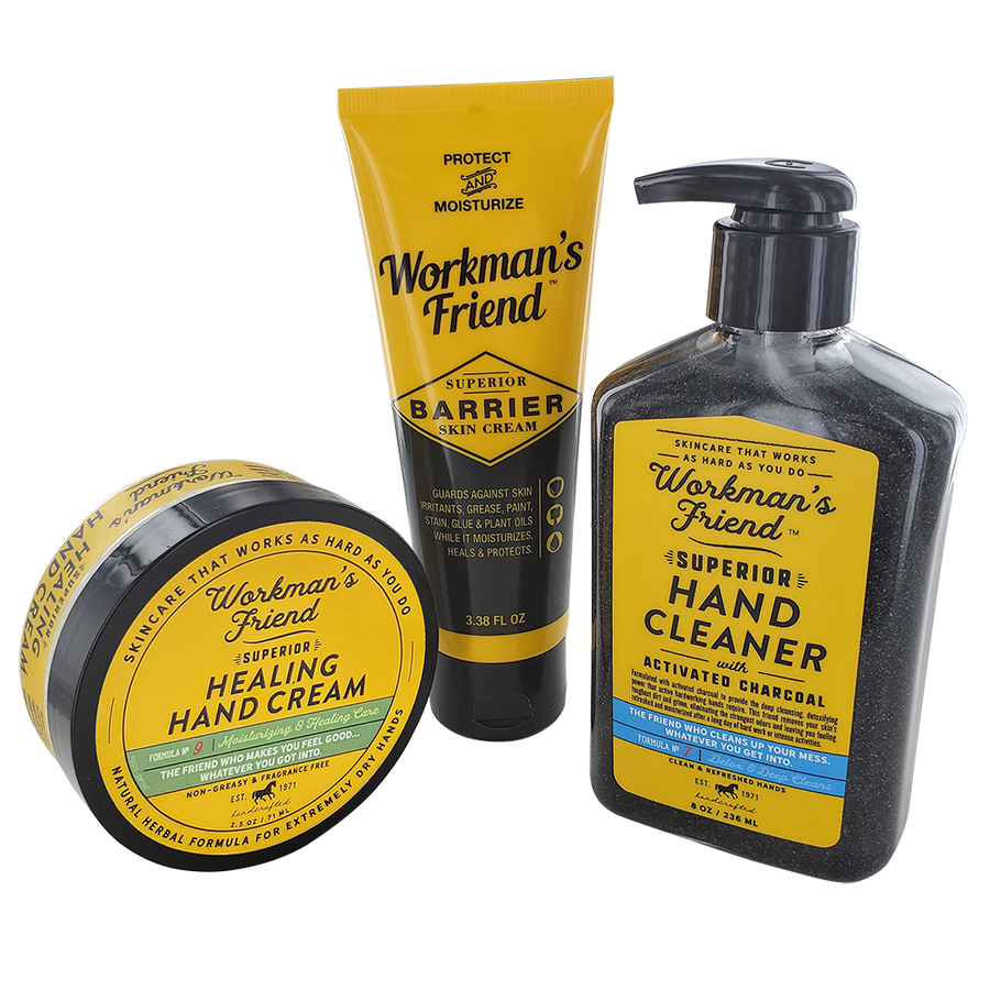 Ultimate Hand Care Bundle- 3.38 oz Barrier Skin Cream, Healing Hand Cream, Hand Cleaner.