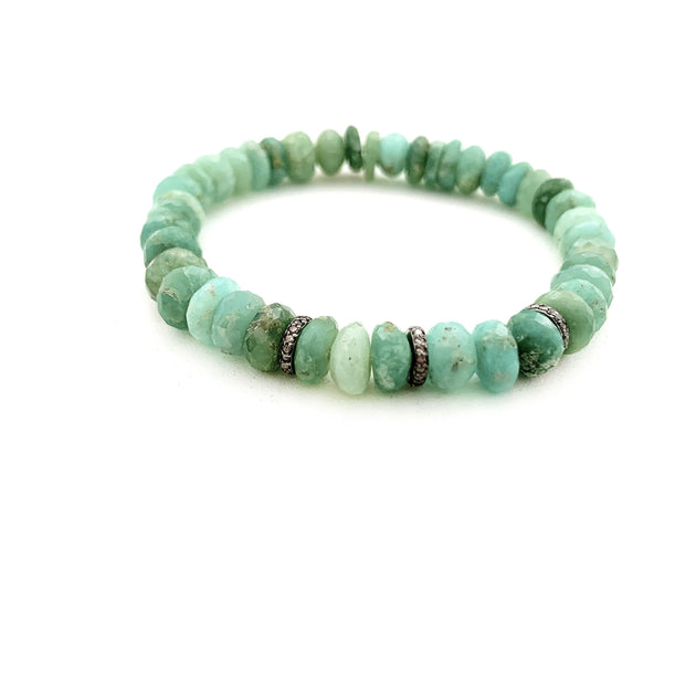 Chrysoprase Bracelet With Diamond Spacers - Caryn Michelle Designs