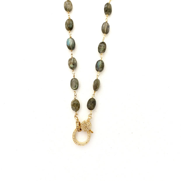 Labradorite And Gold Chain With Diamond Clasp - Caryn Michelle Designs